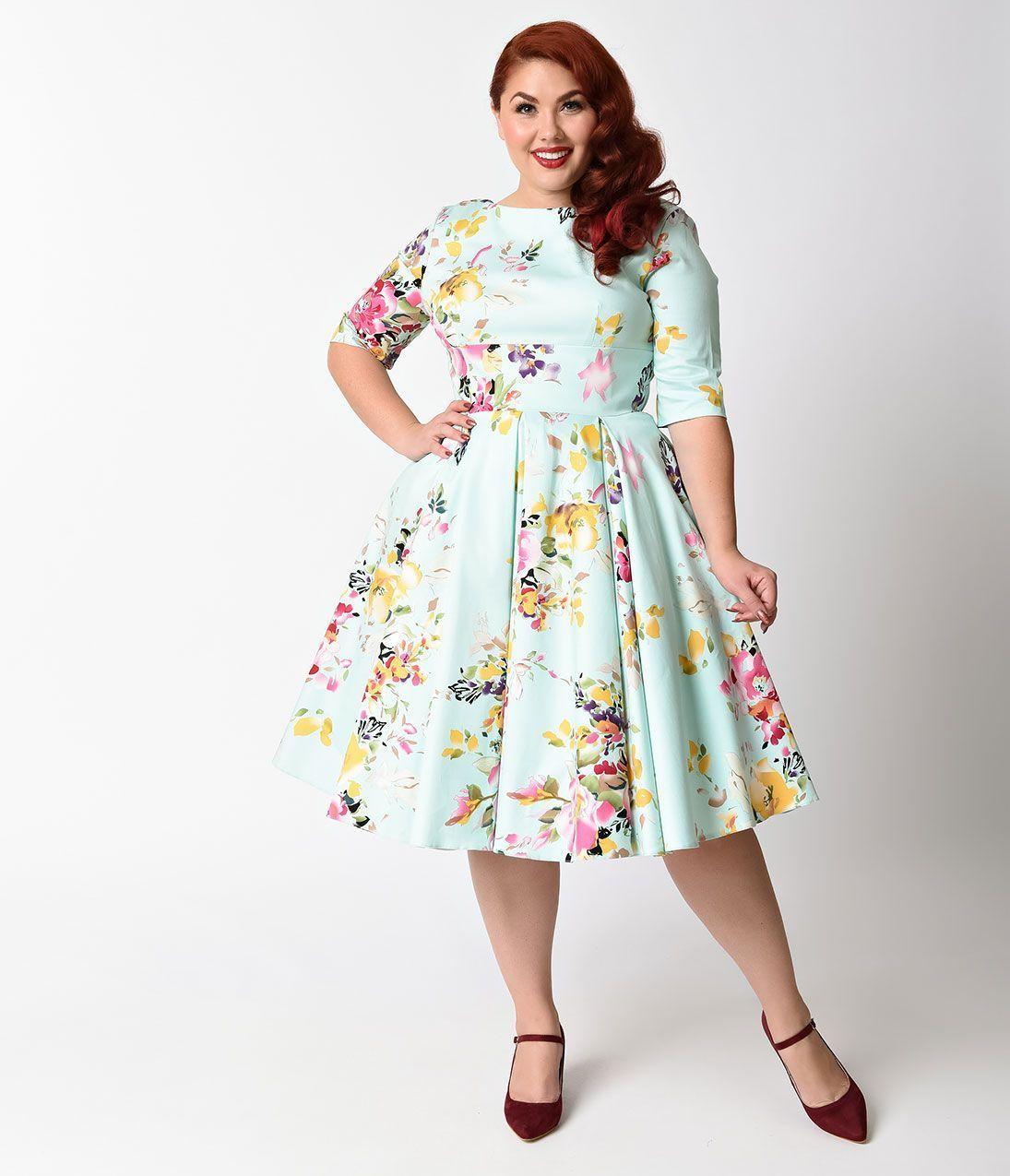 Plus Size Retro Dresses Plus Size Swing Dress Mint Green Floral ...