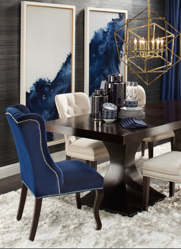 Beautiful Blue Dining Rooms: Minus Lamp For Me. Elegant Dining: Dakota Table + Archer