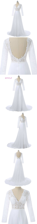 Cheap vestido de noiva wedding dresses aline deep vneck long