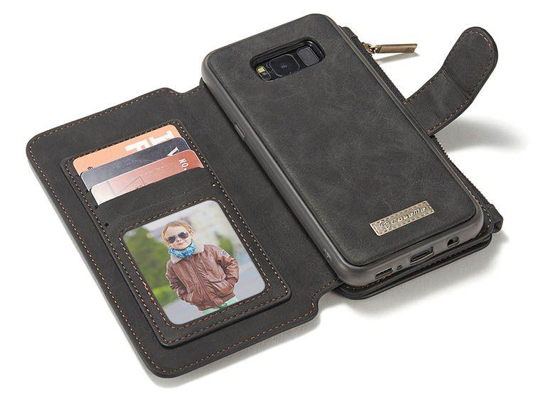 CaseMe Samsung Galaxy S8 Retro Flannelette Leather Detachable 2 in 1 Wallet Case Black