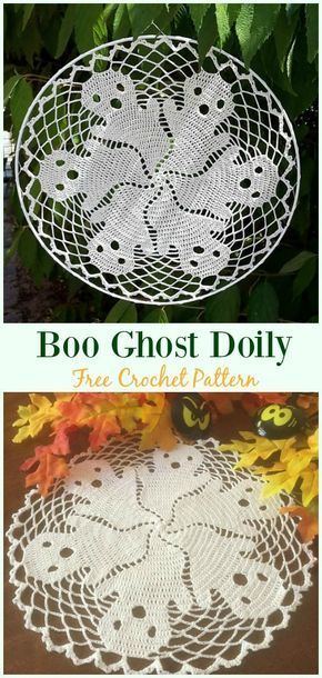 Boo Ghost Doily Crochet Free Pattern - #Crou chet; #Doily; Free ...