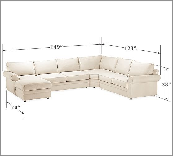 Pearce Roll Arm Upholstered 4 Piece Chaise Sectional With