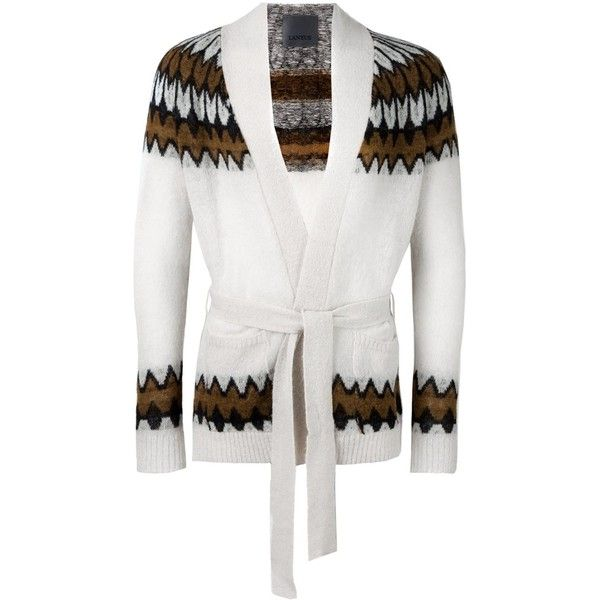 Laneus belted cardigan ($395) ❤ liked on Polyvore featuring men\'s ...