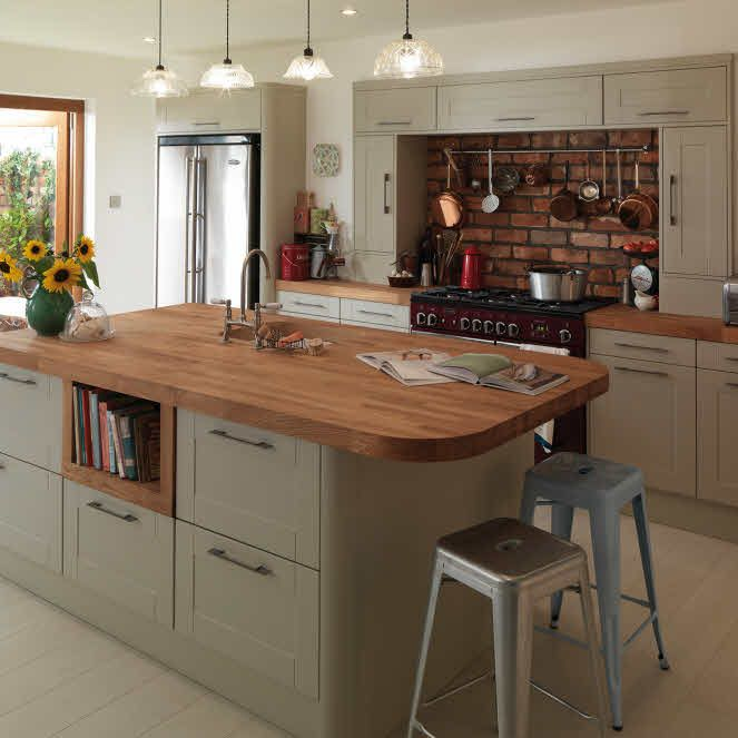 Round Kitchen Island With Seating: Like The Pastel Colours. Like The Idea Of Storage For