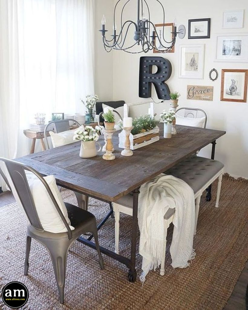 40 Popular Farmhouse Dining Room Decor Ideas 2019