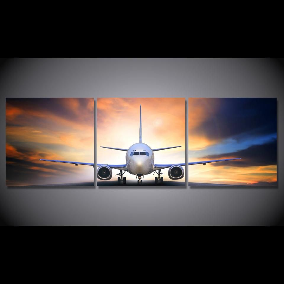 3 Piece Canvas Art Jet Airplane Take Off Landing At Sunset Canvas Print We Have 2 Options For This Print With Framed Or Leinwandkunst Leinwanddruck