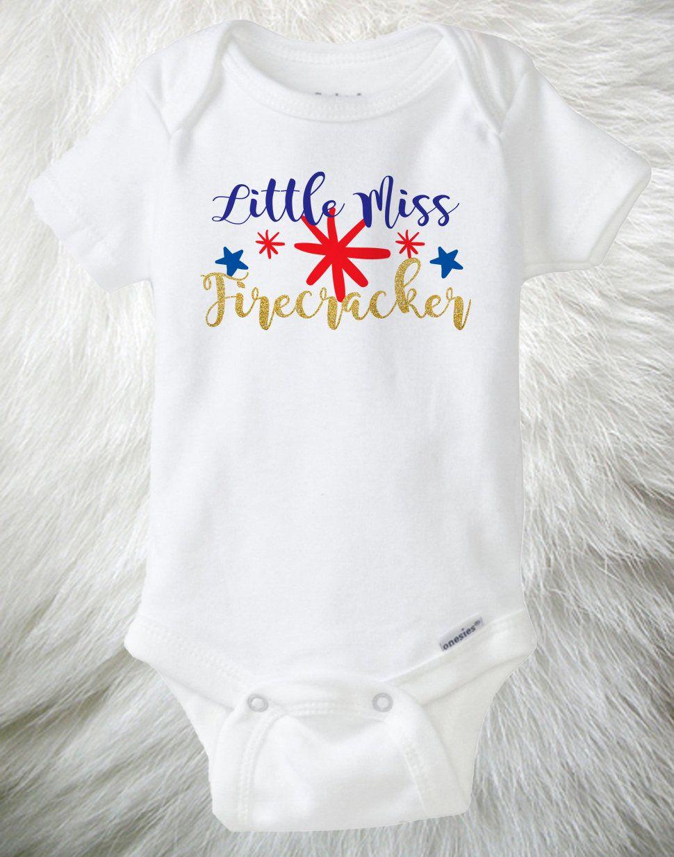 Little Miss 4th of July Newbaby Baby Romper Summer Short Sleeve Onesie