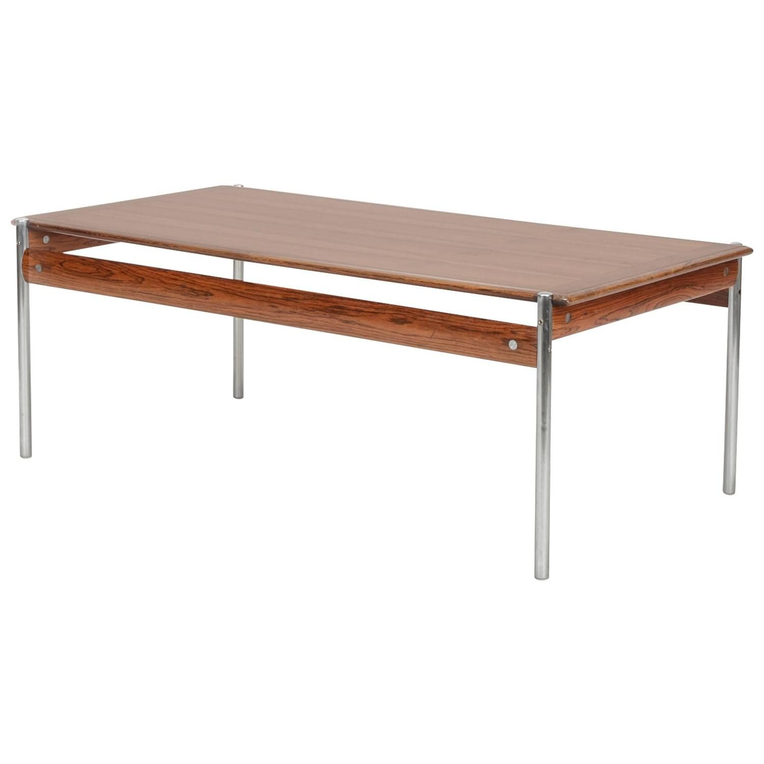 Sven Ivar Dysthe Rosewood and Steel Coffee Table Model 1001 for Dokka Mobler Norway ca.1959