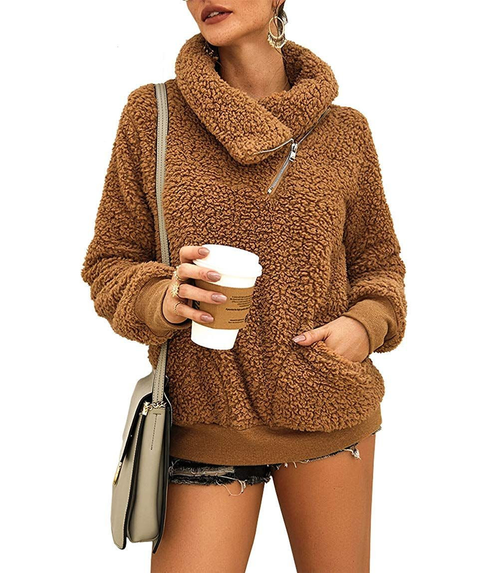 KIRUNDO 2019 Womenrsquos Winter Lapel Sweatshirt Faux Shearling Shaggy Warm Leopard Pullover Zipped Amazon Affiliate link Click image for detail