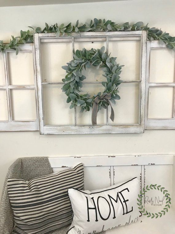 Farmhouse Three Window Frame Set, Farmhouse Wall Decor, Lamb's Ear Wreath