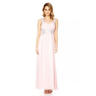 Quiz Pink chiffon embellished maxi dress- at Debenhams.ie