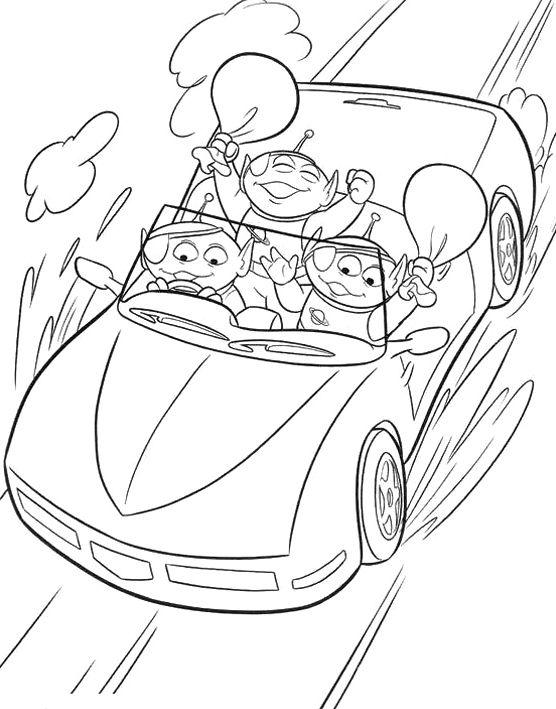 Alien Toy Story Go By Car Coloring For Kids - Toy Story Coloring ...
