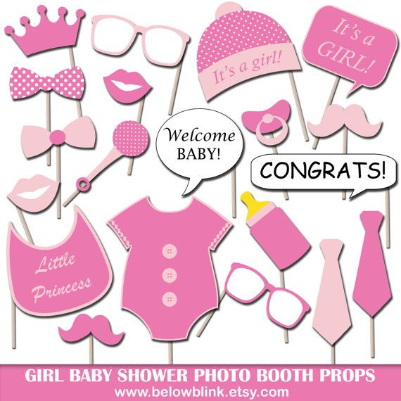 Girl Baby Shower Photo Booth Props Printable Photo Props Party