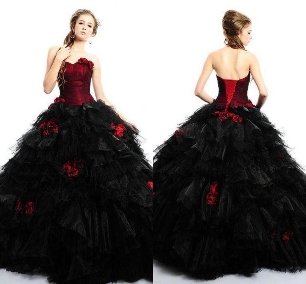 Elegant Black and Red Gothic Princess Wedding Dresses Puffy Bridal ...