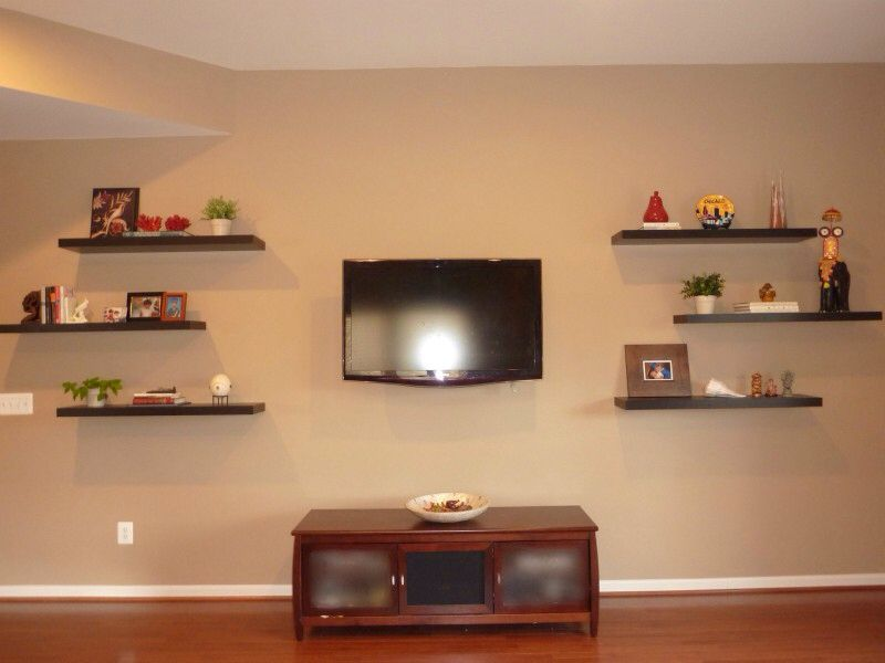 Floating Shelves Around Tv Modern