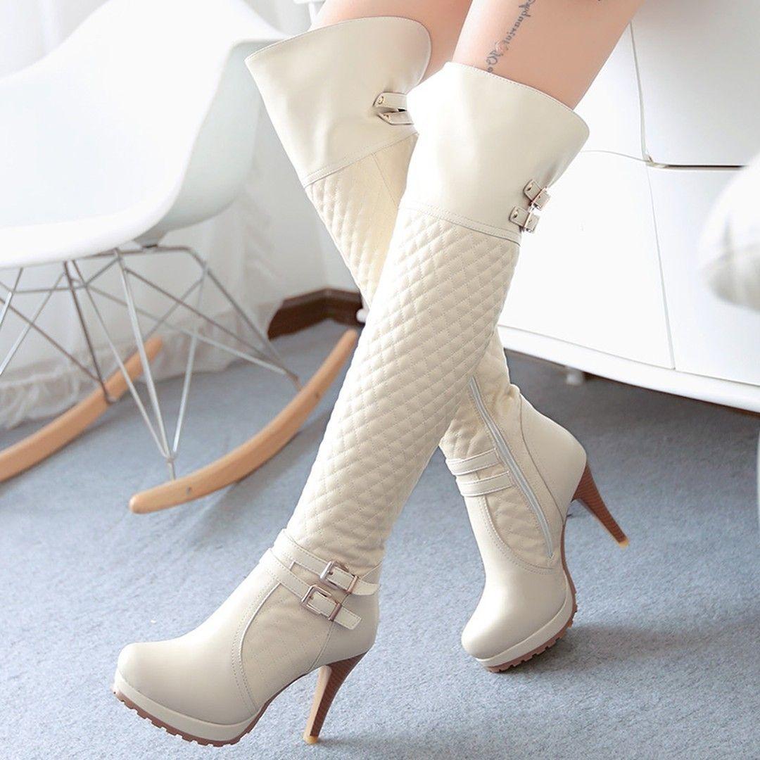 Quality Plaid Knee High Boots