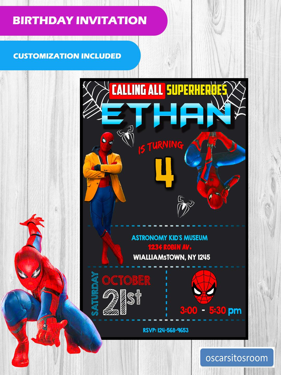 Spiderman Homecoming Customized Invitation / Spiderman Birthday ...