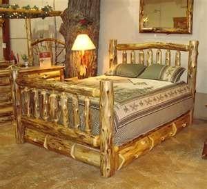 Log Bed Frame Still Rustic But Still Put Together Log Bed