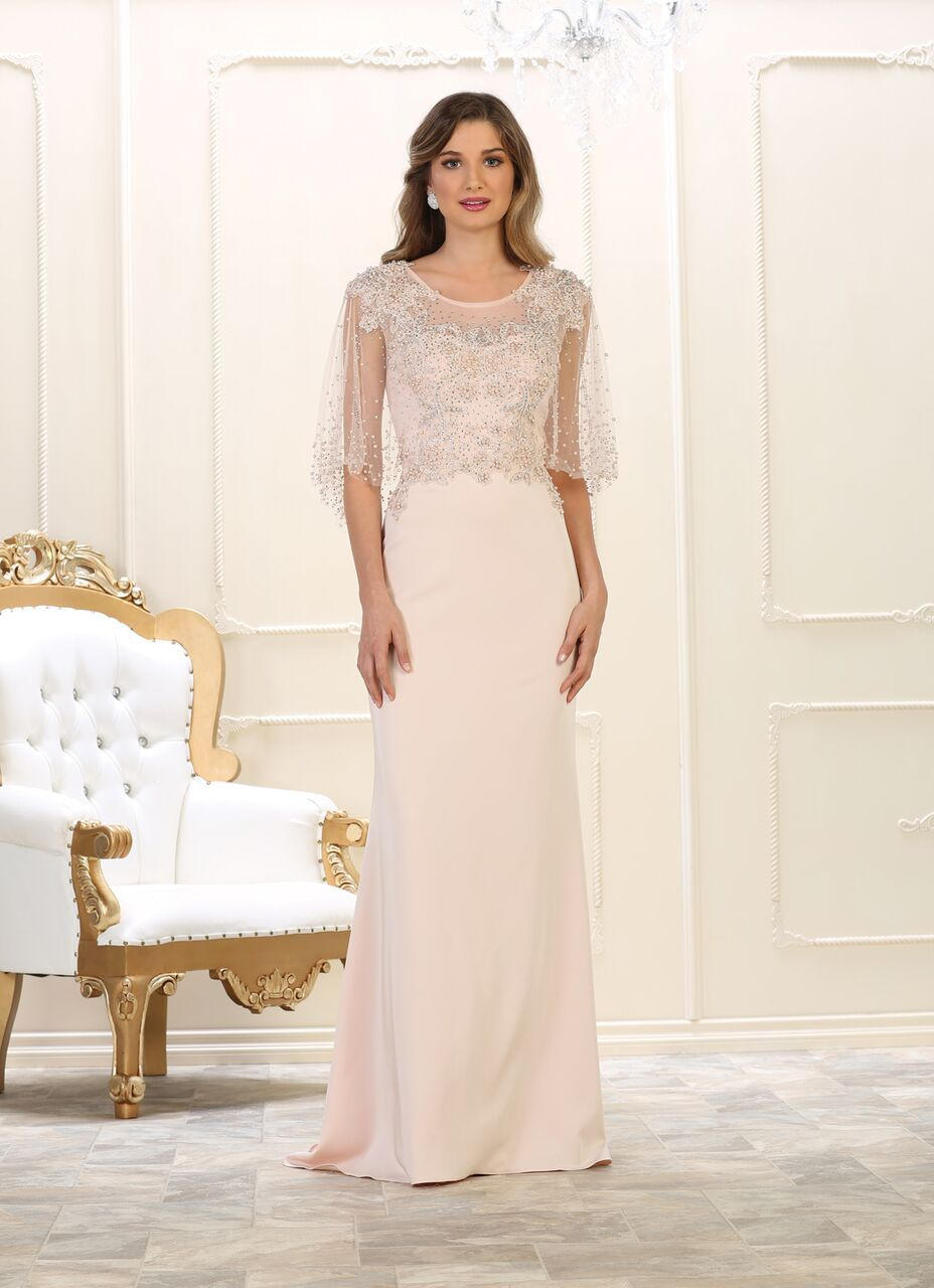 Long mother of the bride plus size formal dress blush wedding