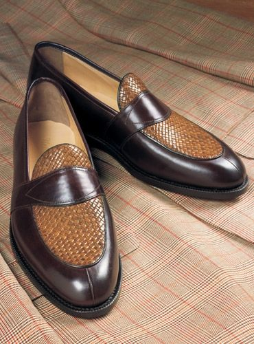 The Charleston Loafer in Brown Leather with Woven Upper (con