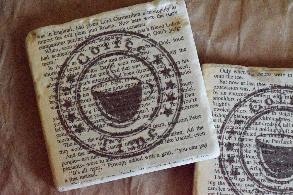 "Handmade ""Coffee Time"" Coasters | Travertine Tile Coasters | Book Page Art | #Handmade"