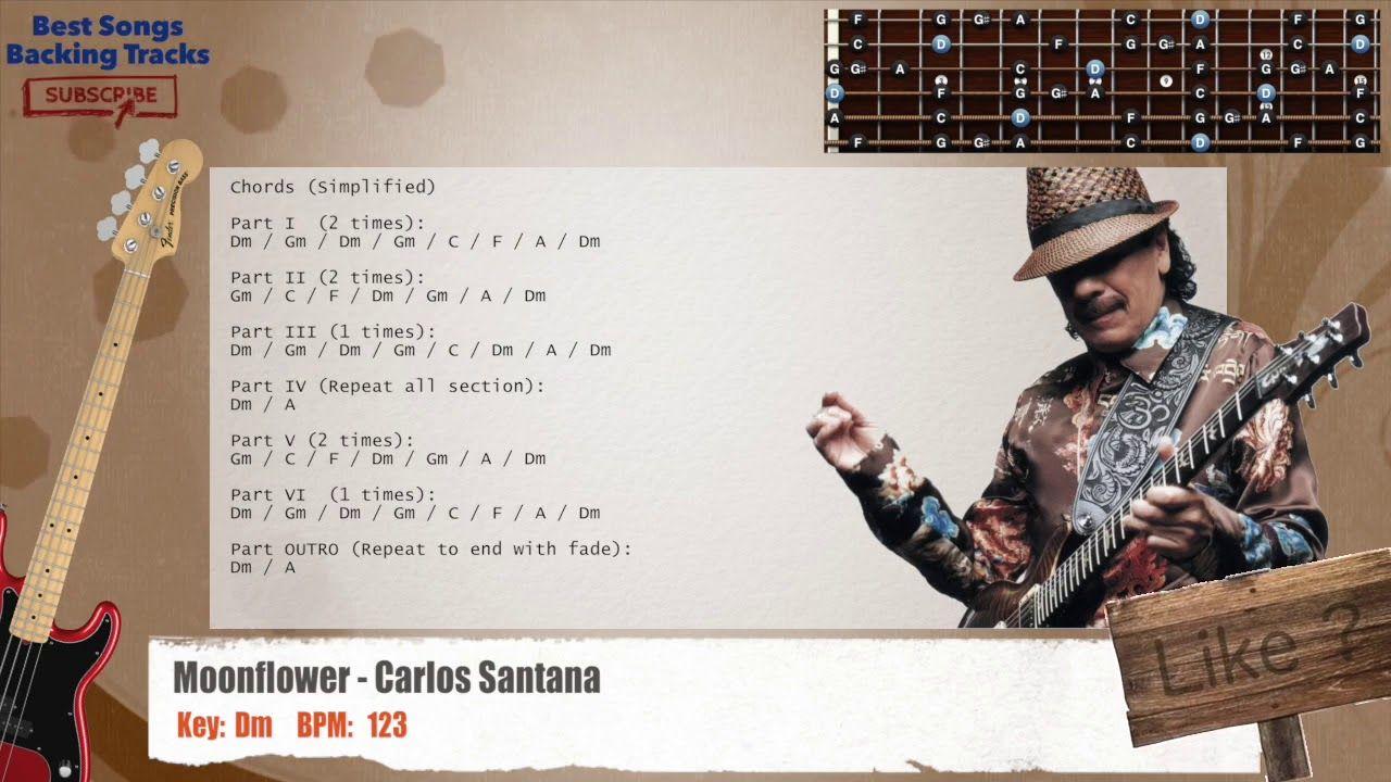 Moonflower Carlos Santana Guitar Backing Track With Chords