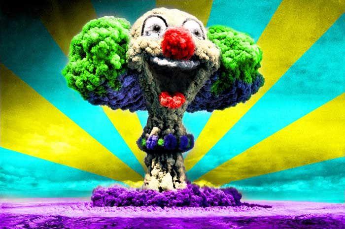 Mens Hoodie Nuclear Explosion Clown Face