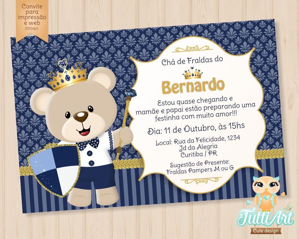 Convite Chá De Fraldas Bebê Arte Digital Que Tal Um