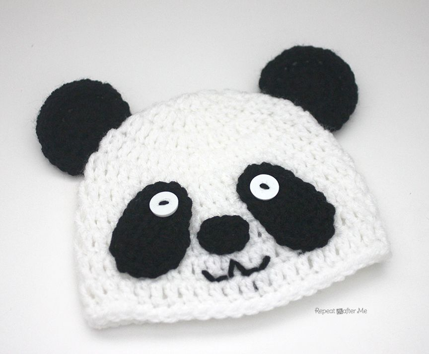 Repeat Crafter Me: Crochet Panda Bear Hat free pattern | Crochet ...