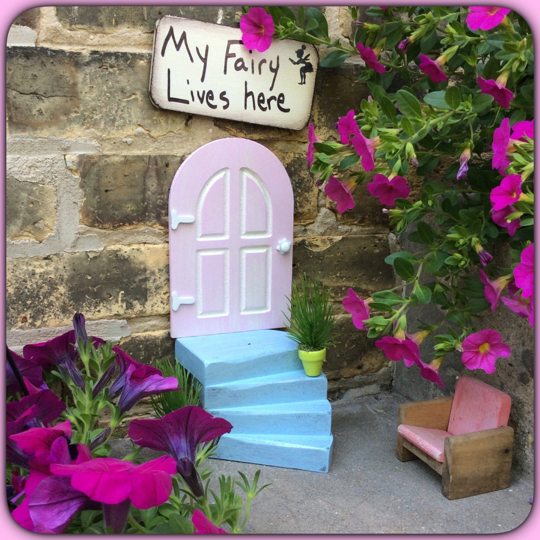 Merveilleux Pink Fairy Door, Garden Decor, Fairy Garden, Gifts For Her, Birthday,  HANDMADE