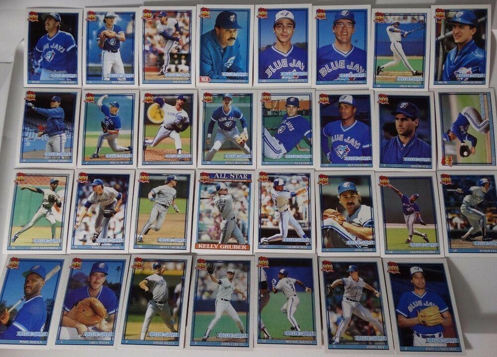 1991 topps toronto blue jays team set of 31 baseball cards