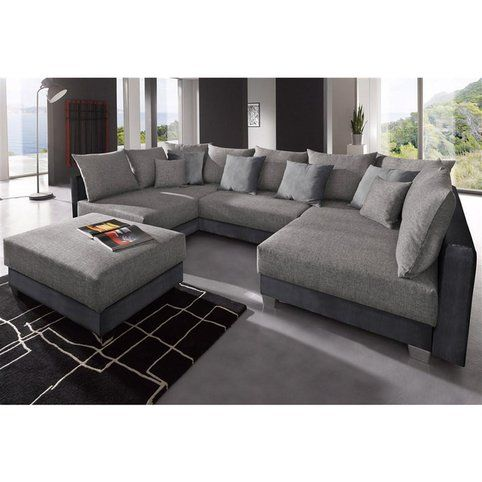 Canap d angles fixes convertible pouf en tissu et for Canape daim gris