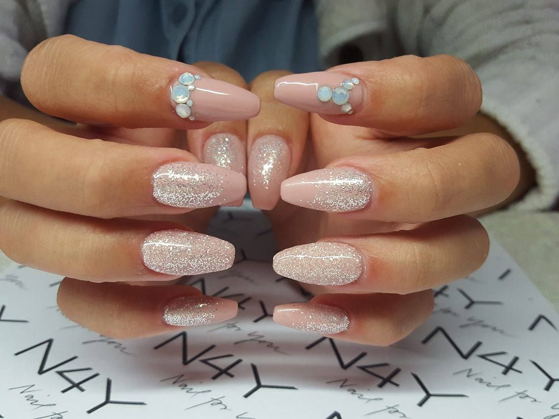 Gel Nails with nail art glitter and rhinestones in soft pink | Nails ...