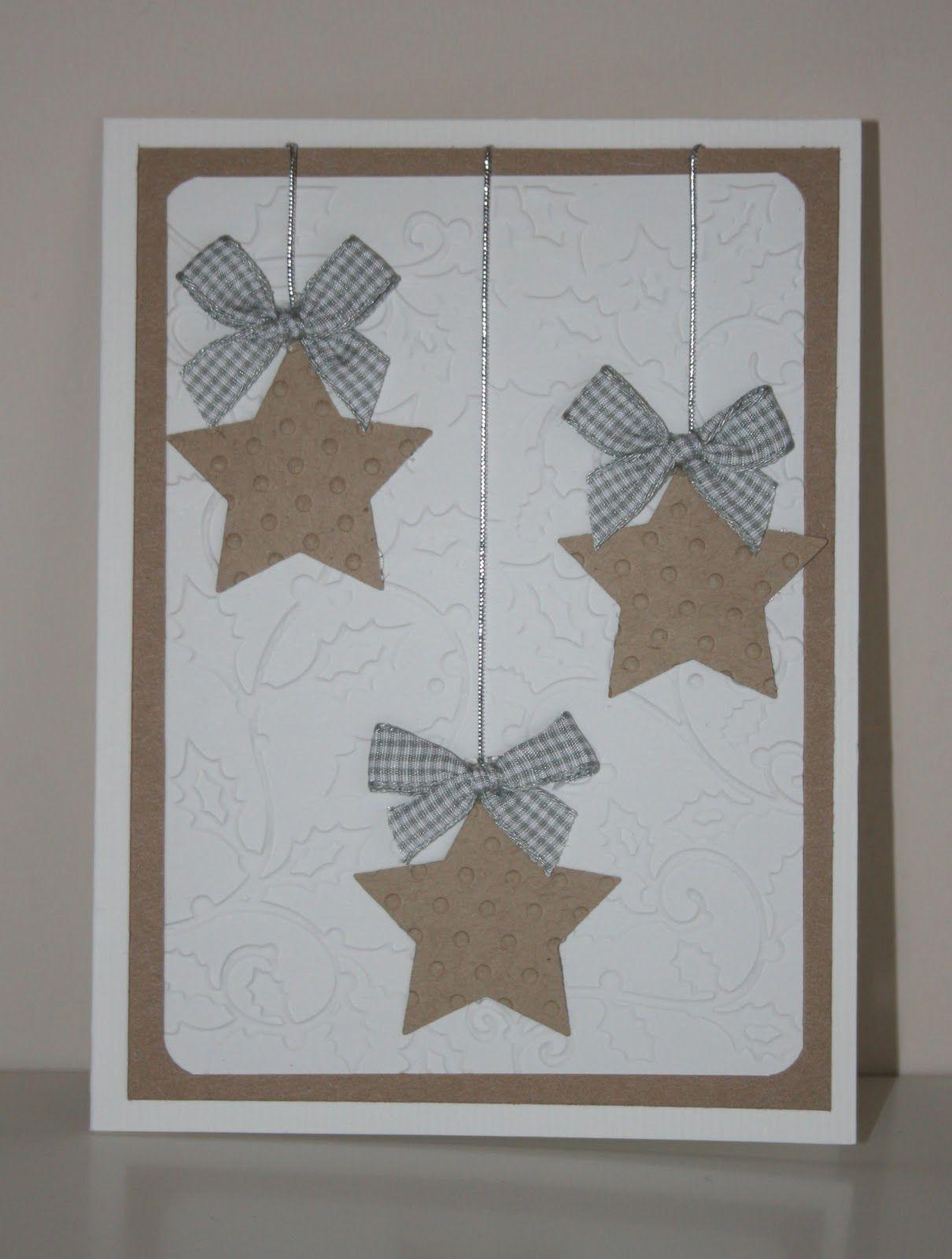 Tarjeta De Navidad Con Estrellas Navidad Pinterest Tarjetas - Manualidades-de-tarjetas-navideas