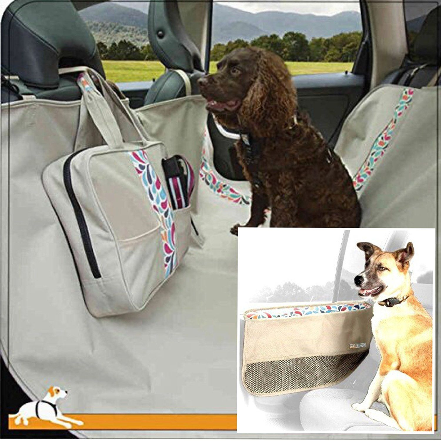 Kurgo Wander Waterproof Dog Car Hammock And Seat Cover PLUS Kurgo Door  Guard (Left And Right)   Color Splash * See This Great Product.