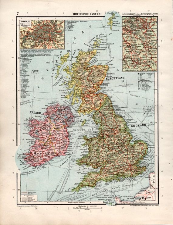 Map Of England Edinburgh.1920 S United Kingdom Old Map British Islands By Craftissimo