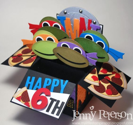 Teenage Mutant Ninja Turtles Pop Up Card Details On Her Blog By Jenny Peterson Kids Cards Cool Birthday Cards Kids Birthday Cards
