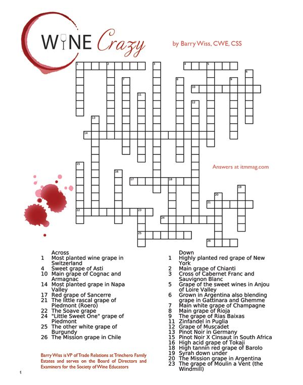 Crossword Puzzle: Test Your Wine Knowledge 2 Questions and