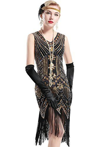 BABEYOND Women s Flapper Dresses 1920s V Neck Beaded Fringed Great Gatsby  Dress (Small b61349eb71bd