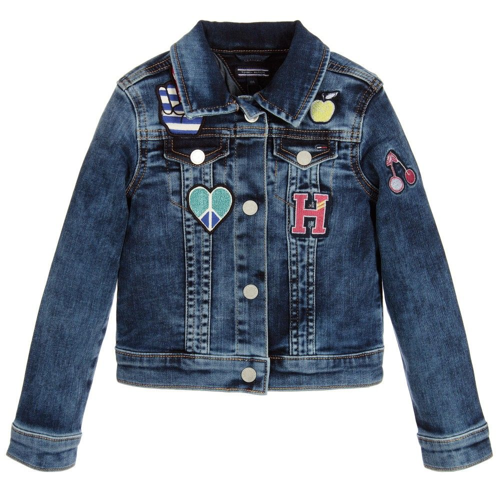 69b41e153 Girls Blue Denim Jacket with Patches