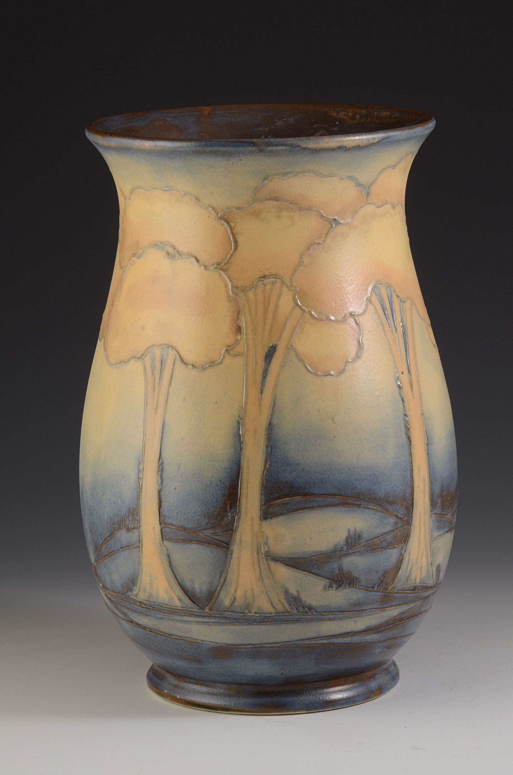 A large and rare salt glaze landscape vase dating to 1930. a superb ...