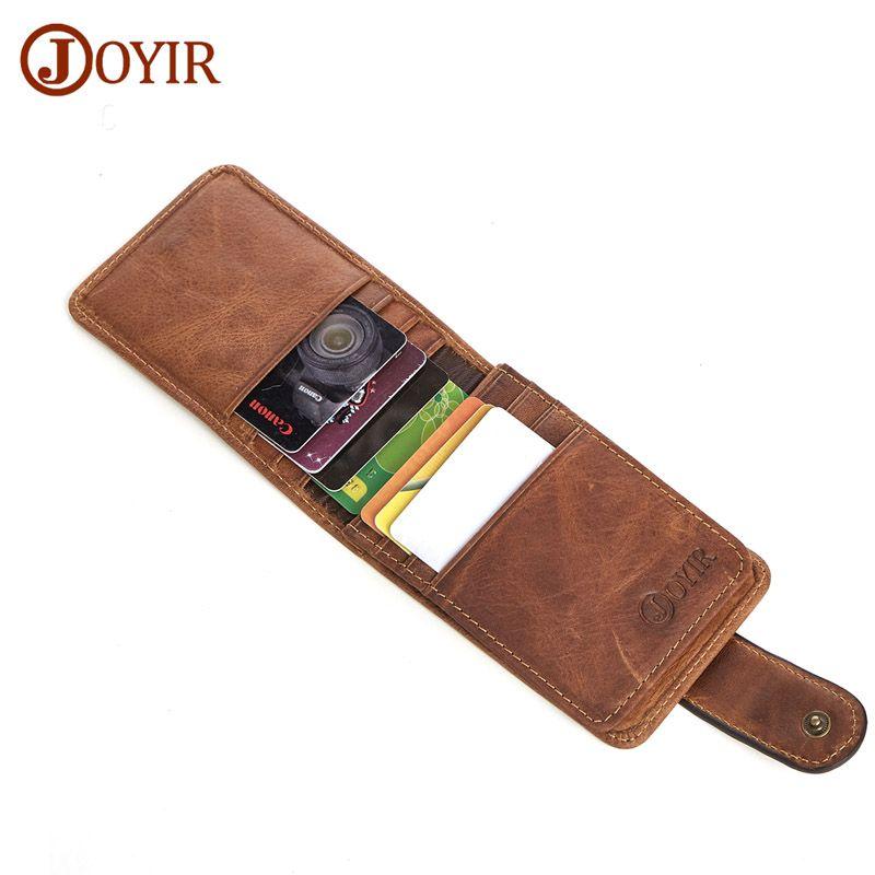 JOYIR 100% Real Leather ID Pocket Bank Credit Card Holder Case Thin ...