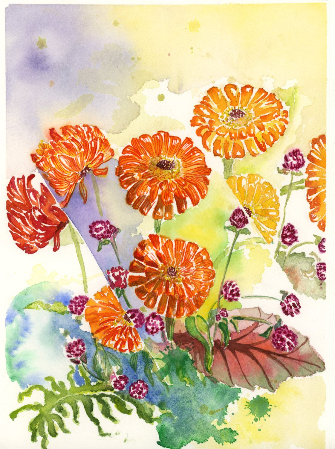 Abstract zinnia fine art print watercolor painting by