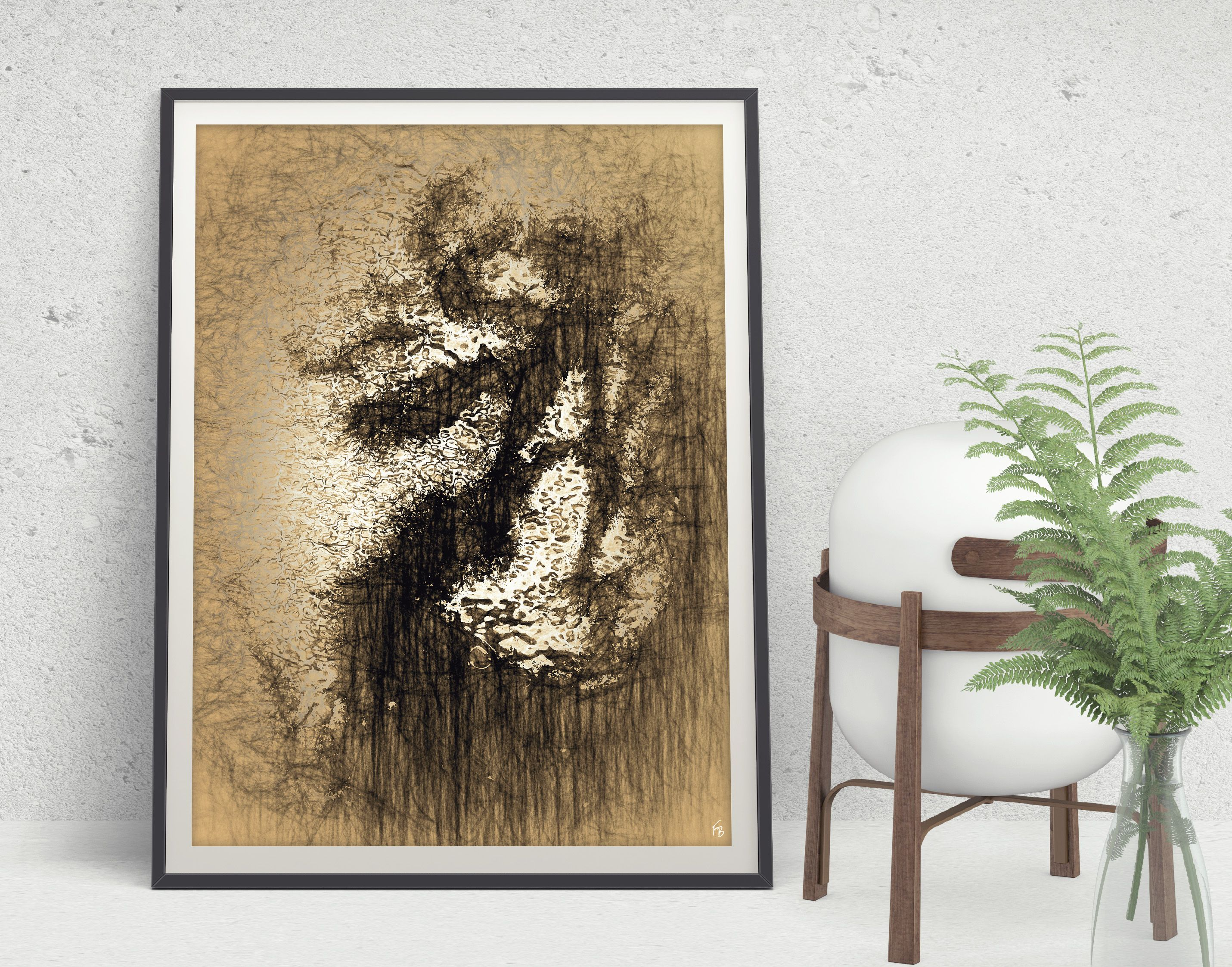 Brown abstract decor printable art minimalist art large digital