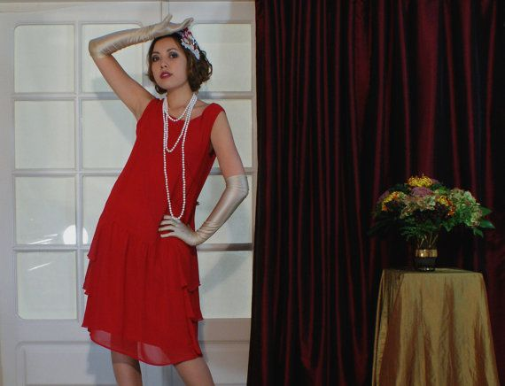 Red 1920s inspired flapper dress with side by HouseOfRecollections ...