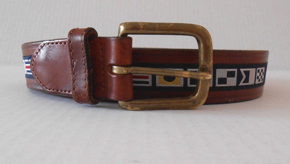 Nautica Flag Navy Ribbon Inlay Belt Brown Leather Model 93802T SIZE 34  #Nautica