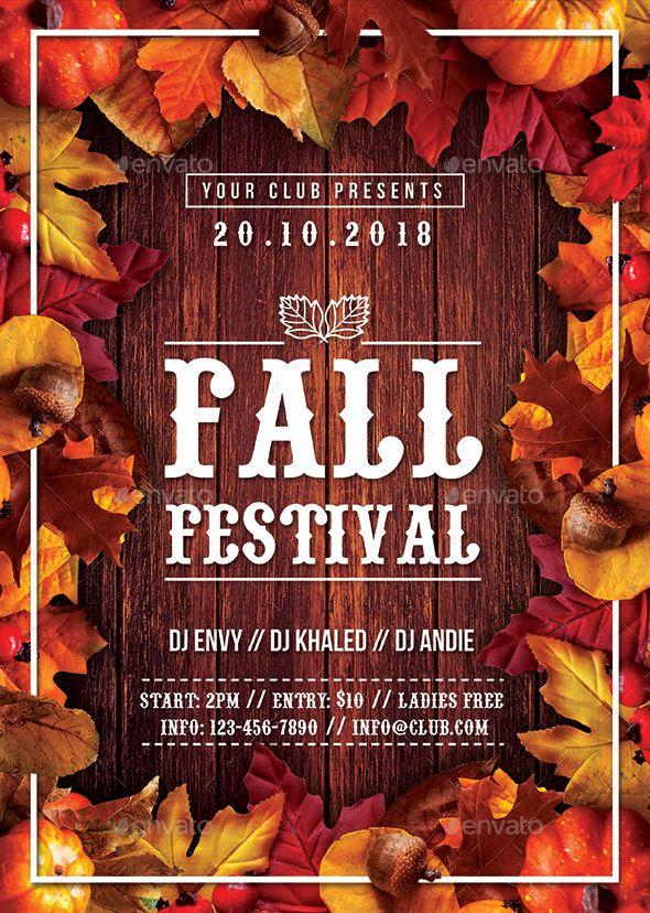 Autumn Fall Festival Flyer  Autumn Fall Flyer Template And Font Logo
