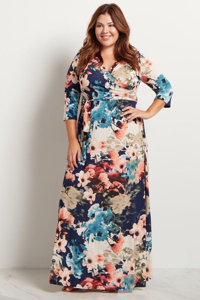 5d7ad7337bbe2 Navy Blue Floral Sash Tie Plus Size Maxi Dress