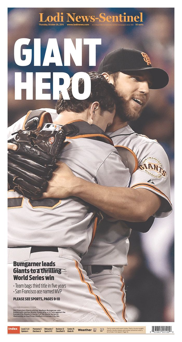 S.F. Giants 2014 World Series Champions ~ #WorldSeries #NewspaperFrontPage
