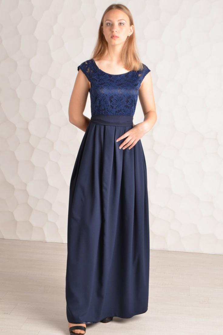 Bridesmaid dress Lace blue dress Navy blue long dress Blue ...